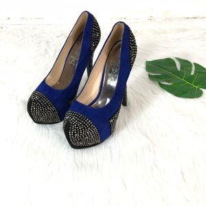 jacobies Shoes - Blue & Black Rhinestone Heels Sz 8.5